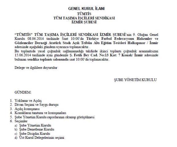 İzmir Şube Genel Kurul İlanı