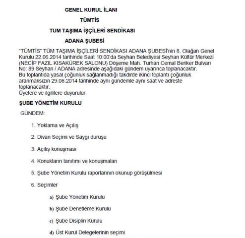 Adana Şube Genel Kurul İlanı