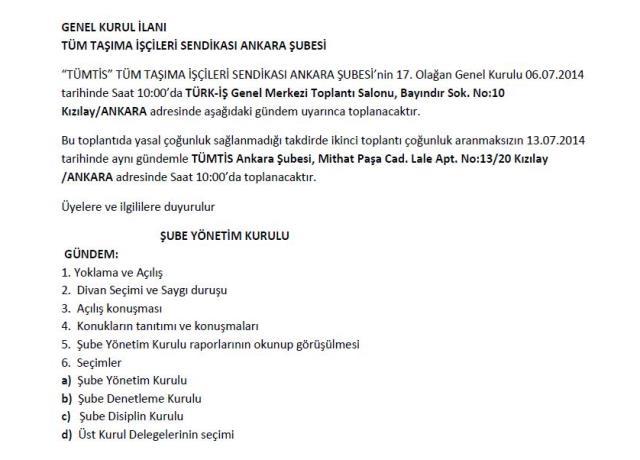 Ankara Şube Genel Kurul İlanı
