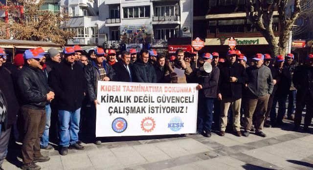 Gaziantep'te Kıdem Tazminatı Fonu'na 'Hayır' Eylemi