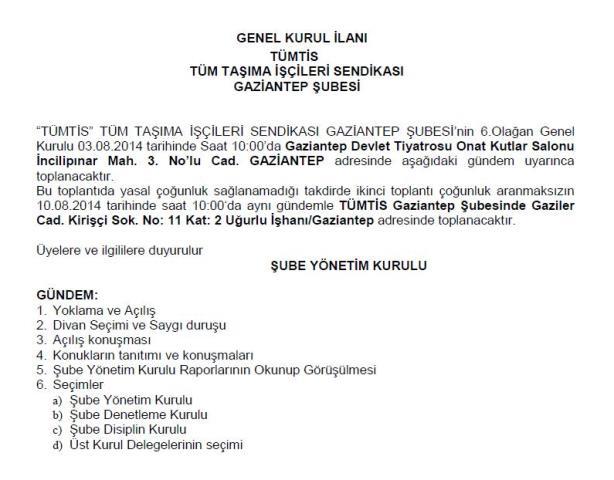 Gaziantep Şube Genel Kurul ilanı