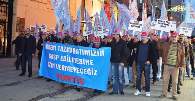 Galatasaray Meydanı'nda Kıdem Tazminatı Eylemi